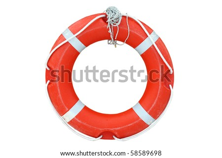 An isolated ring-buoy on a white background - stock photo