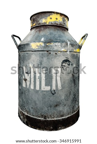 An Isolated Rustic Old Milk Churn Or Can - stock photo