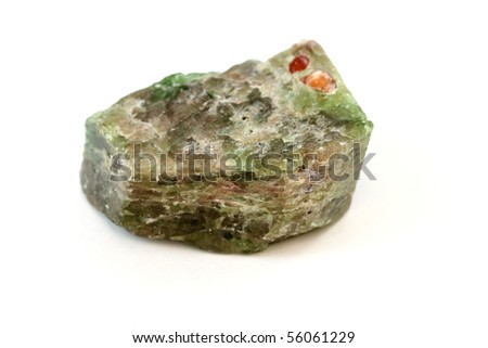 An isolated sample of the mineral Apatite - stock photo