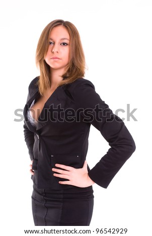 An isolated sexy secretary on white background with a tailleur