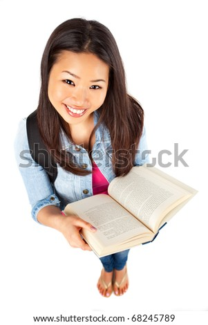An isolated shot of a beautiful asian college student - stock photo