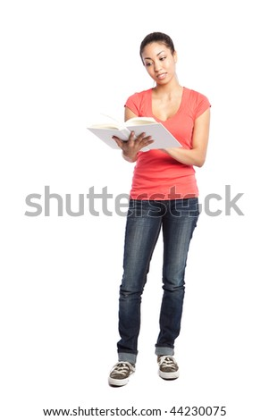 An isolated shot of a beautiful black college student reading - stock photo