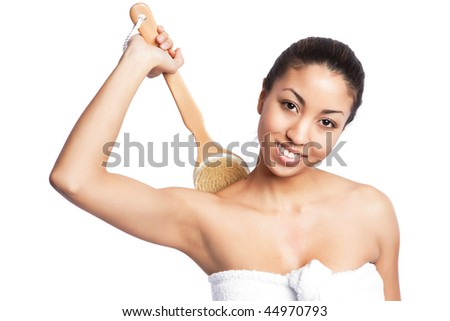 An isolated shot of a beautiful black woman in spa - stock photo