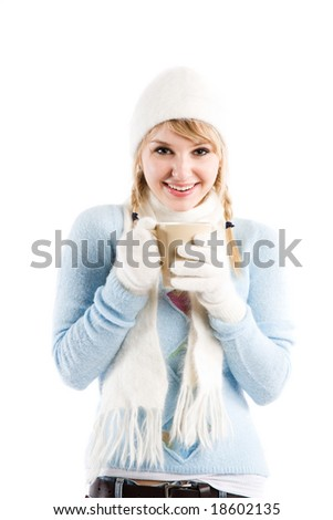 An isolated shot of a beautiful caucasian girl drinking coffee - stock photo