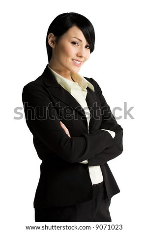 An isolated shot of a beautiful smiling businesswoman - stock photo