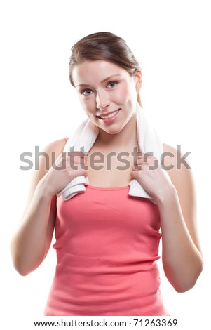 An isolated shot of a beautiful sporty caucasian woman
