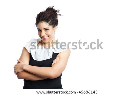 An isolated shot of a black businesswoman - stock photo