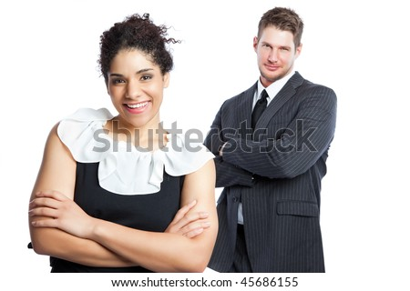 An isolated shot of a black  businesswoman and a caucasian businessman - stock photo
