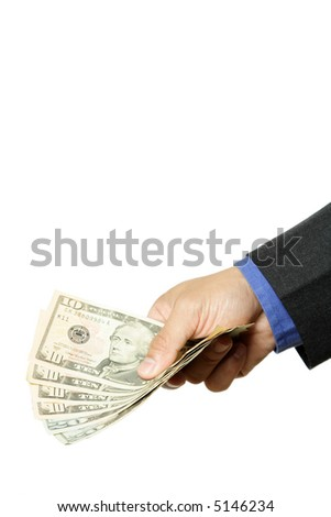 An isolated shot of a businessman handing out cash
