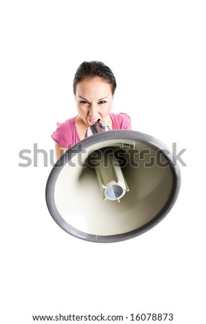 An isolated shot of a businesswoman shouting through a megaphone - stock photo