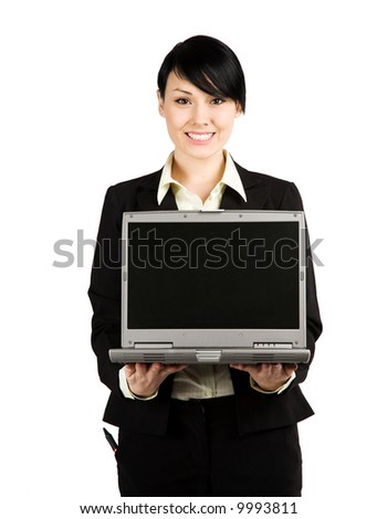 An isolated shot of a businesswoman showing her laptop - stock photo