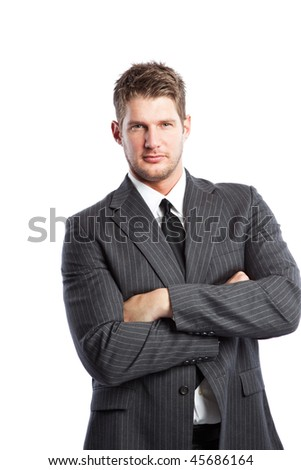An isolated shot of a caucasian businessman - stock photo