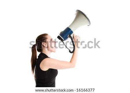An isolated shot of a caucasian businesswoman shouting on a megaphone - stock photo
