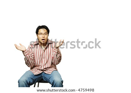 An isolated shot of a confused and puzzled businessman