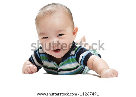 An isolated shot of a cute asian baby - stock photo