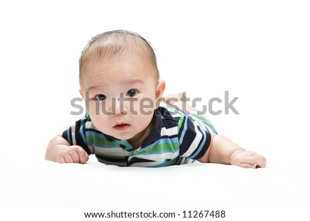 An isolated shot of a cute asian baby boy - stock photo