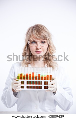 An isolated shot of a female scientist - stock photo