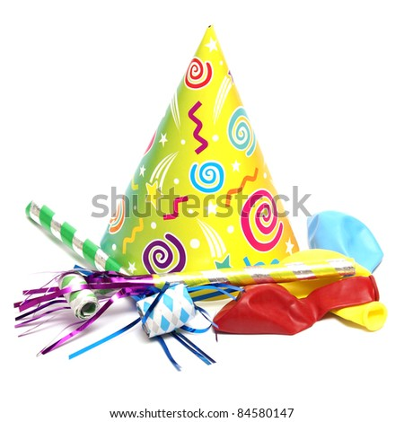 An isolated shot of a few good party supplies to start the celebration. - stock photo