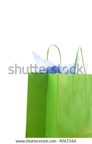 An isolated shot of a green shopping bag - stock photo