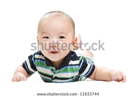 An isolated shot of a happy asian baby boy - stock photo