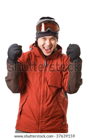 An isolated shot of a happy asian snowboarder