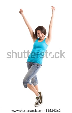 An isolated shot of a happy beautiful young african american woman - stock photo