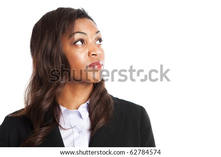 An isolated shot of a happy black businesswoman - stock photo