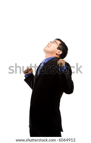 An isolated shot of a happy businessman - stock photo