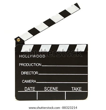An isolated shot of a hollywood clapboard for film production. - stock photo