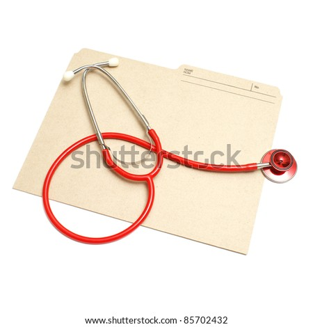 An isolated shot of a red stethoscope and medical folder. - stock photo