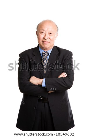 An isolated shot of a senior asian businessman - stock photo