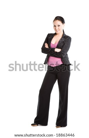 An isolated shot of a standing beautiful businesswoman - stock photo