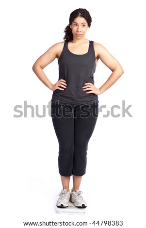 An isolated shot of a unhappy woman standing on a weight scale - stock photo