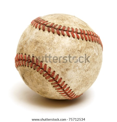 An isolated shot of a well used baseball. - stock photo