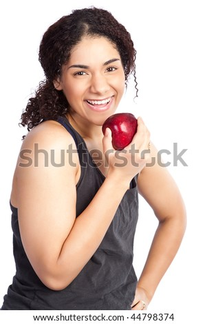 An isolated shot of a woman eating an apple - stock photo