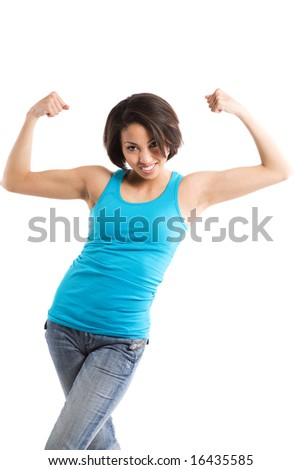 An isolated shot of an african american woman flexing her arms showing her muscle