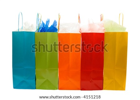 An isolated shot of bunch of colorful shopping bags - stock photo