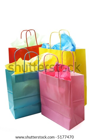 An isolated shot of colorful shopping bags - stock photo