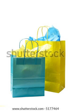 An isolated shot of two colorful shopping bags - stock photo