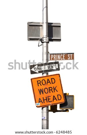 an isolated sign post in new york - stock photo