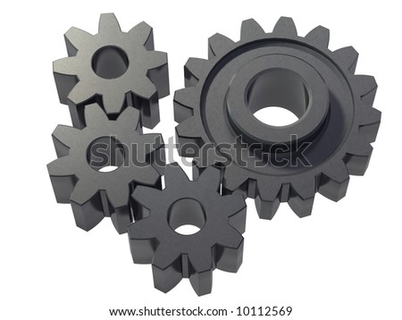 An isolated small cogwheels on white background - stock photo
