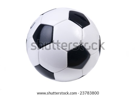 An isolated soccer ball. Black and white