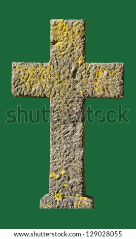 An Isolated Stone Christian Crucific From A Graveyard - stock photo
