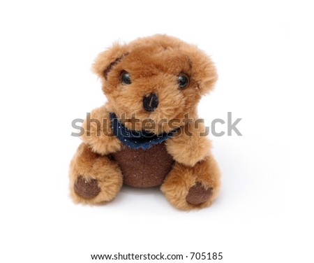 an isolated teddy bear - stock photo