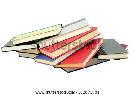 An isolated textbook pile
