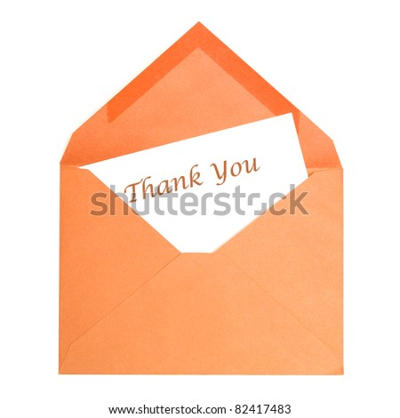 An isolated thank you card that has been opened by its receiver. - stock photo