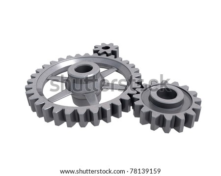 An isolated three cogwheels on white background
