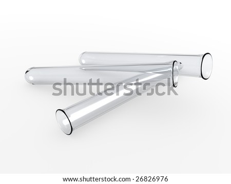 An isolated three glass test tubes on white background - stock photo