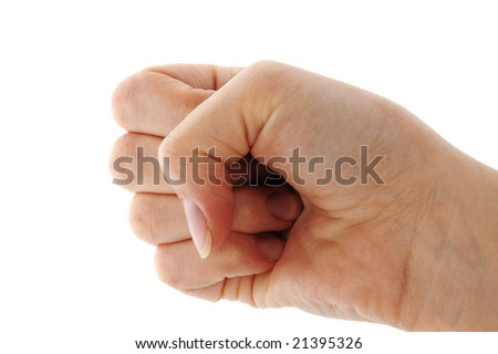 An isolated to white image of a fist/punch hand signal