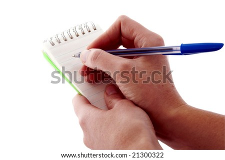 An isolated to White image of a Notepad and pen - stock photo